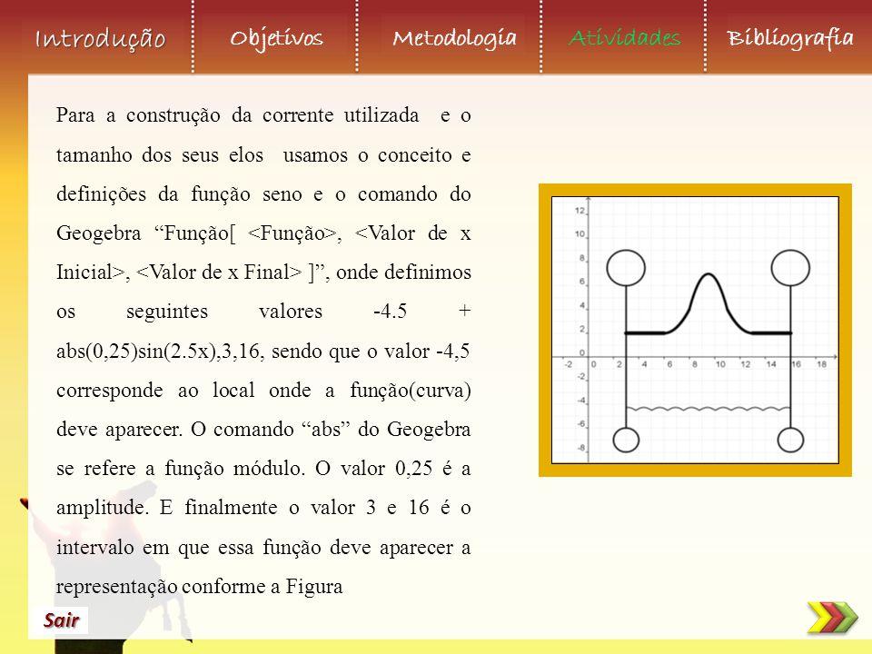 Para a construção da corrente utilizada e o tamanho dos seus elos usamos o conceito e definições da função seno e o comando do Geogebra Função[ <Função>, <Valor de x Inicial>, <Valor de x Final> ] , onde definimos os seguintes valores -4.5 + abs(0,25)sin(2.5x),3,16, sendo que o valor -4,5 corresponde ao local onde a função(curva) deve aparecer.